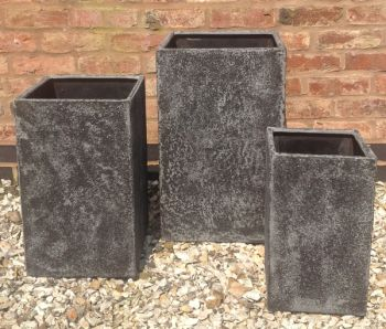 Mixed Set of 3 Elston Tall Cube Planters in Dark Grey