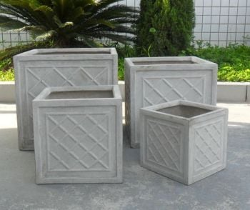 Dalby Cube Planter in Stone W30 x H30cm