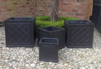 Dalby Cube Planter in Black W23cm x H23cm