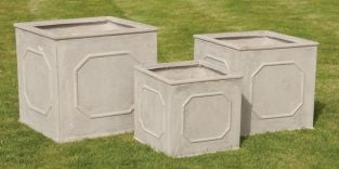 Mixed Set Of 3 Bridgeford Cubel Planters In Stone