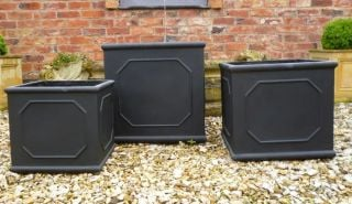 H43cm Bridgeford Cube Planter in Black