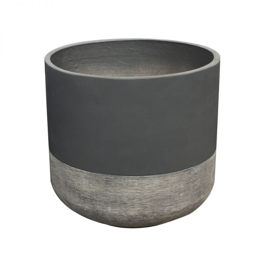 H44cm Large Frostproof Concrete Infinity Cylinder Planter in Two-Tone Design