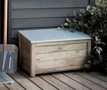 Wooden Outdoor Storage Chest with Zinc Top W79cm