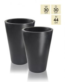 44cm Polystone Black Calgary Tall Planters - Set of 2