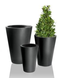 Black Calgary Polystone Tall Planters - Mixed Set of 4 - H44/H54/H69/H89