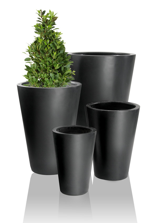 Black Calgary Polystone Tall Planters - Set of 2 - H69cm
