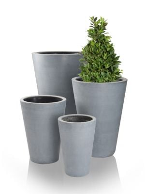 Grey Calgary Polystone Tall Planters - Mixed Set of 3 - H44cm/H54cm/H69cm