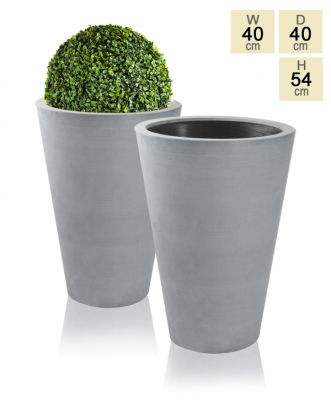 Grey Calgary Polystone Tall Planters - Set of 2 - H54cm