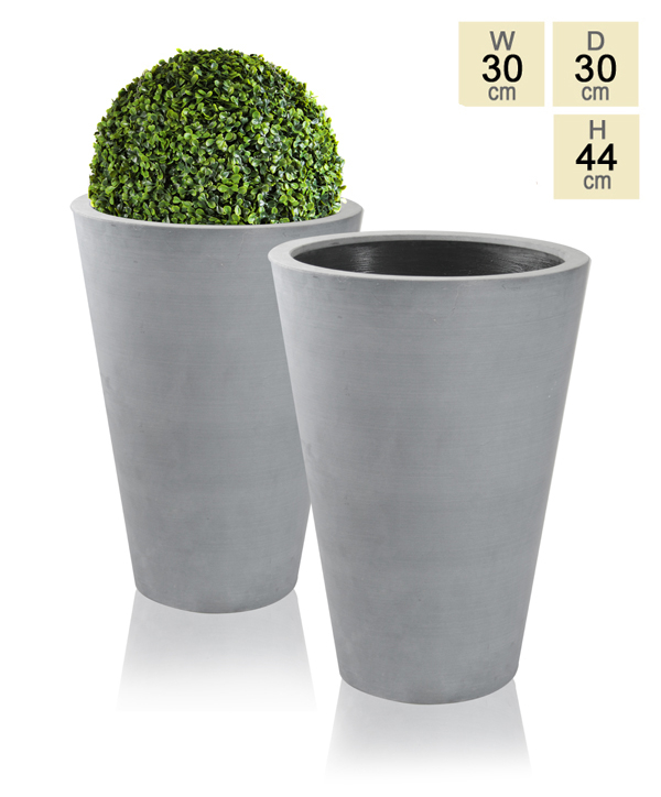 44cm Polystone Grey Calgary Tall Planters - Set of 2
