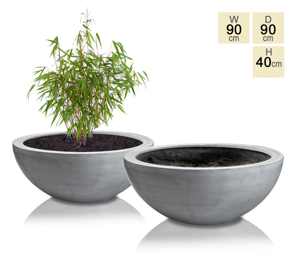 Grey Lismore Polystone Low Planter - Set of 2 - D90cm