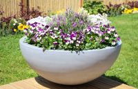 70cm Polystone Lismore Grey Low Planter