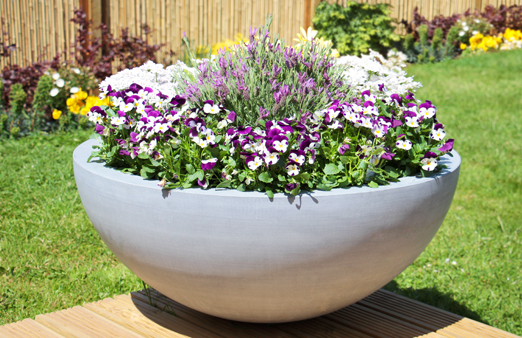 Grey Lismore Polystone Low Planter D90cm