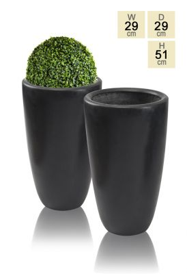 51cm Polystone Black Ambler Tall Planter - Set of 2