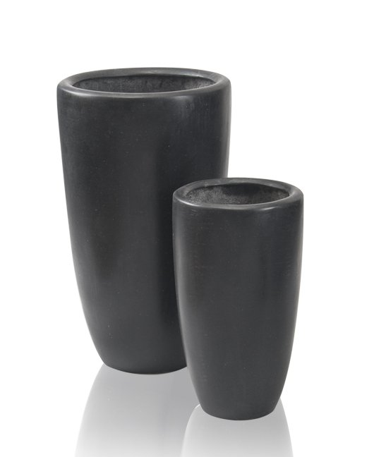 Black Ambler Polystone Tall Planter - Mixed Set of 2 - H51cm/H37cm