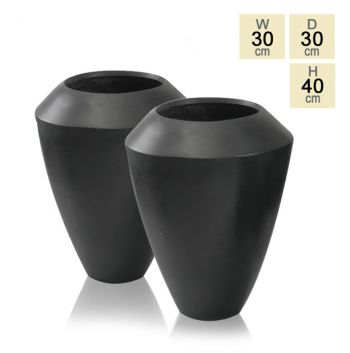 Black Roselle Polystone Tall Flared Planter - Set of Two H40cm