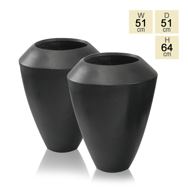 64cm Polystone Black Roselle Tall Flared Planter - Set of 2