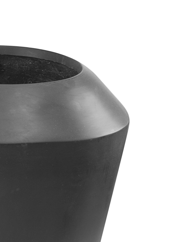 Black Roselle Polystone Tall Flared Planter - Set of 2 - H64cm/H40cm