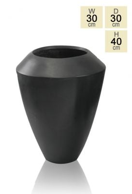 Black Roselle Polystone Tall Flared Planter H40cm