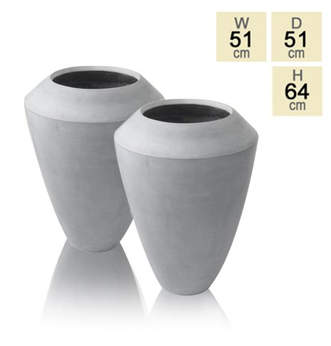 64cm Polystone Grey Roselle Tall Flared Planter - Set of 2