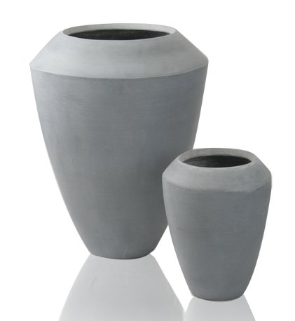 Grey Roselle Polystone Tall Flared Planter - Set of 2 - H64cm/H40cm