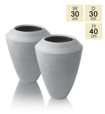 40cm Polystone Grey Roselle Tall Flared Planter - Set of Two