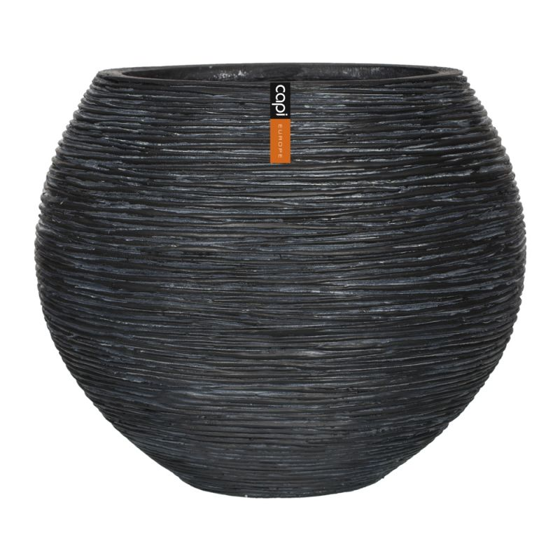 Capi Nature Ball Vase Ribbed Planter H32cm x Dia40cm - Black