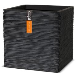 40cm Capi Nature Cube Ribbed Planter - Black
