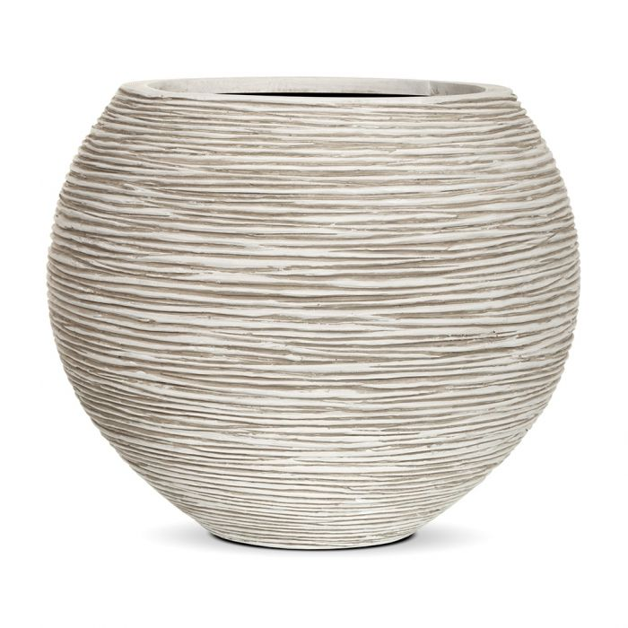 62cm Capi Nature Ball Vase Ribbed Planter - Ivory