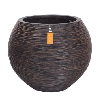 Capi Nature Ball Vase Ribbed Planter H48cm x Dia62cm - Brown