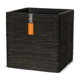 40cm Capi Nature Cube Ribbed Planter - Brown