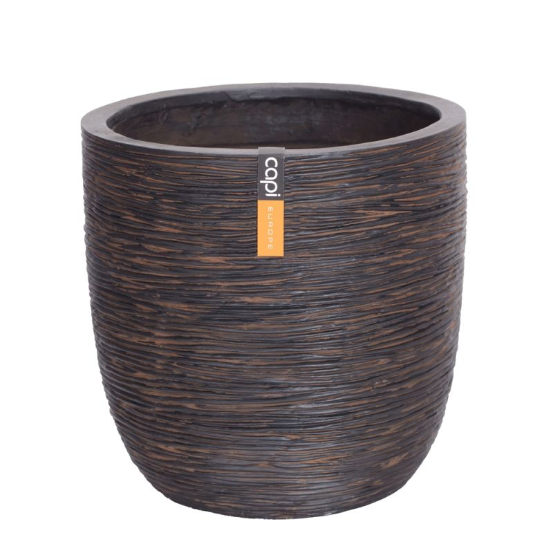 Capi Nature Round Pot Ribbed Planter H41cm x Dia43cm - Brown