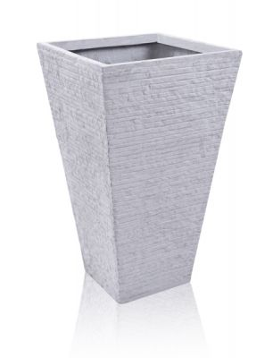 53cm Terracotta Fibrecotta Seville Flared Square Planter in Light Grey Brick Finish - Set of 2