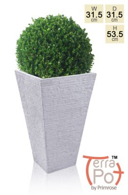 53cm Terracotta Fibrecotta Seville Flared Square Planter in Light Grey Brick Finish