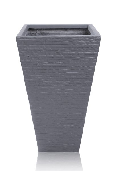 53cm Terracotta Fibrecotta Seville Flared Square Planter in Dark Grey Brick Finish  - Set of 2