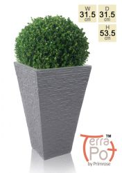 53.5cm Terracotta Fibrecotta Seville Flared Planter in Dark Grey Brick Finish