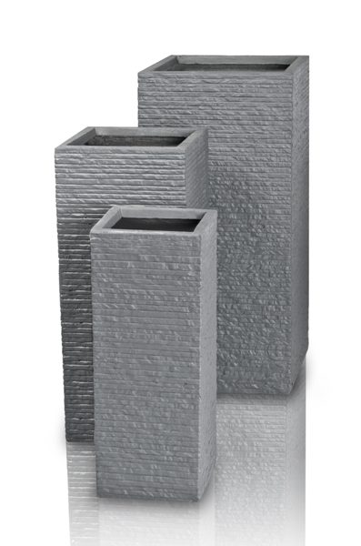 Seville Tall Fibrecotta Planter in Dark Grey Brick Finish - Mixed Set of 3 - H70/60/50cm