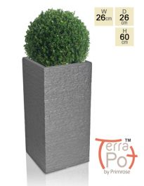 60cm Terracotta Fibrecotta Seville Tall Planter in Dark Grey Brick Finish