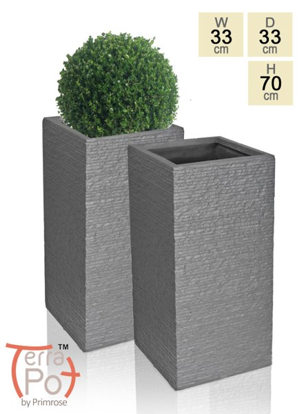 70cm Terracotta Fibrecotta Seville Tall Planter in Dark Grey Brick Finish - Set of 2