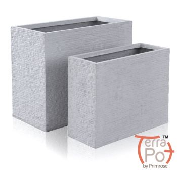 Seville Tall Trough Fibrecotta Planter in Light Grey Brick Finish - Set of 2 Small/Large - H50/40cm x L60/50cm