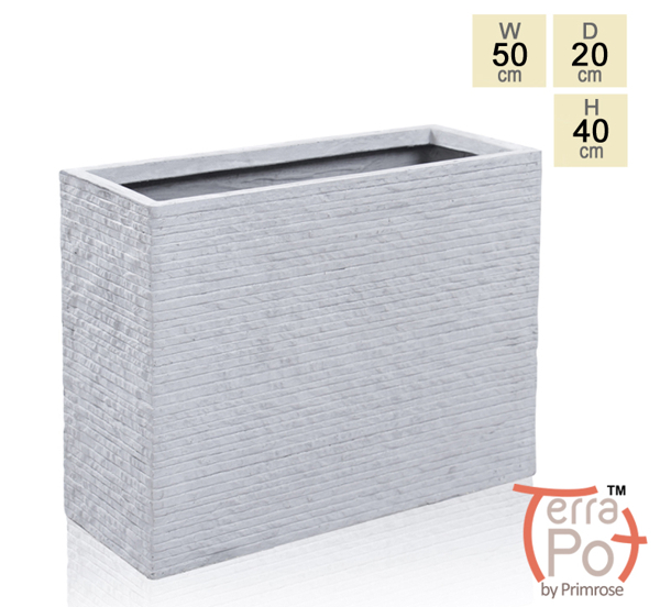 50cm Fibrecotta Terracotta Seville Tall Trough Planter in Light Grey Brick Finish
