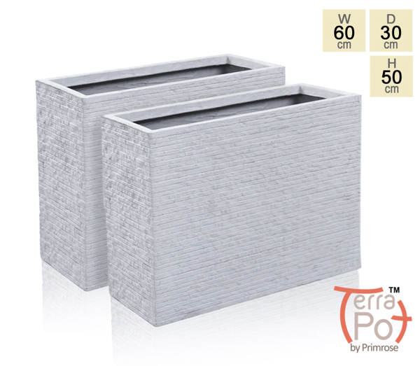 60cm Terracotta Fibrecotta Seville Tall Trough Planter in Light Grey Brick Finish - Set of 2