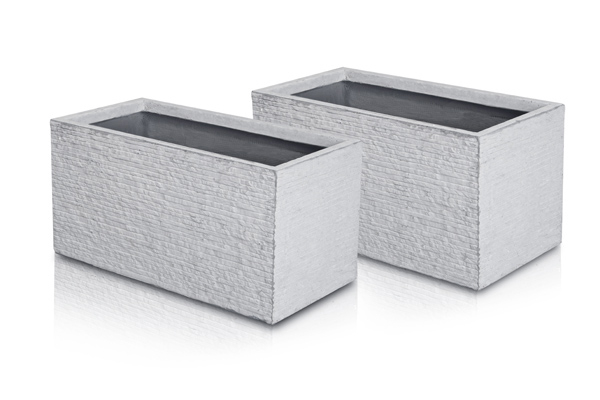 Seville Fibrecotta Trough Planter in Light Grey Brick Finish - H30cm x L60cm