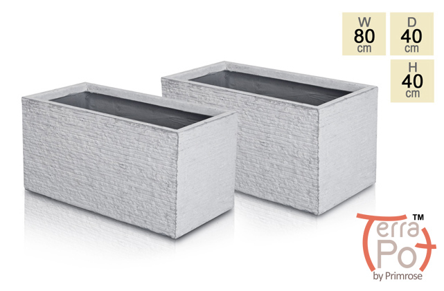 Seville Fibrecotta Trough Planter in Light Grey Brick Finish - Set of 2 - H40cm x L80cm