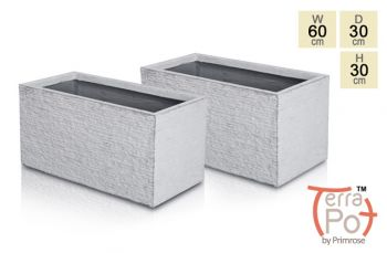 60cm Terracotta Fibrecotta Seville Trough Planter in Light Grey Brick Finish - Set of 2
