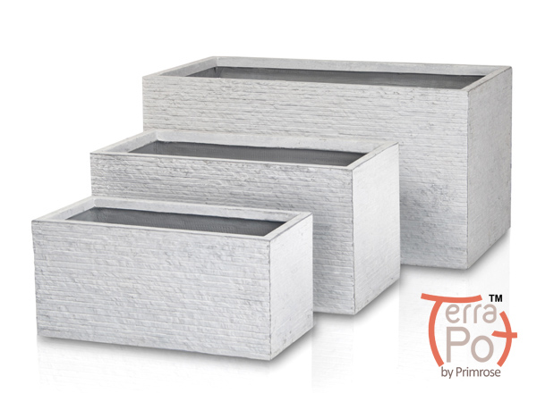Seville Fibrecotta Trough Planter in Light Grey Brick Finish - Mixed Set of 3 - L50/60/80cm