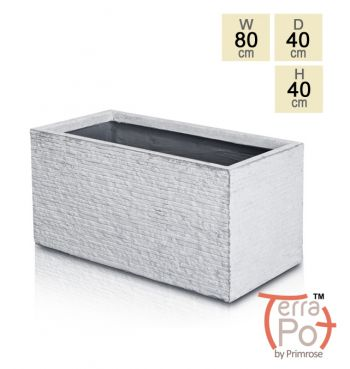 80cm Terracotta Fibrecotta Seville Trough Planter in Light Grey Brick Finish
