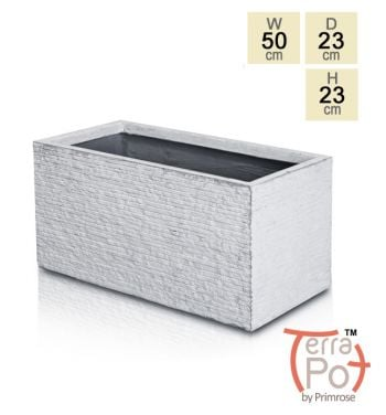 50cm Terracotta Fibrecotta Seville Trough Planter in Light Grey Brick Finish