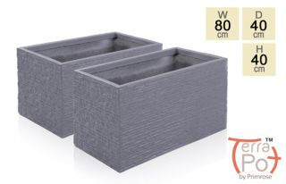 80cm Terracotta Fibrecotta Seville Trough Planter in Dark Grey Brick Finish - Set of 2