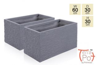 60cm Terracotta Fibrecotta Seville Trough Planter in Dark Grey Brick Finish - Set of 2