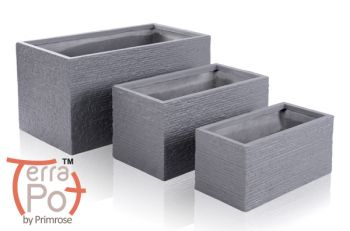 Seville Fibrecotta Trough Planter in Dark Grey Brick Finish - Mixed Set of 3 - L50/60/80cm